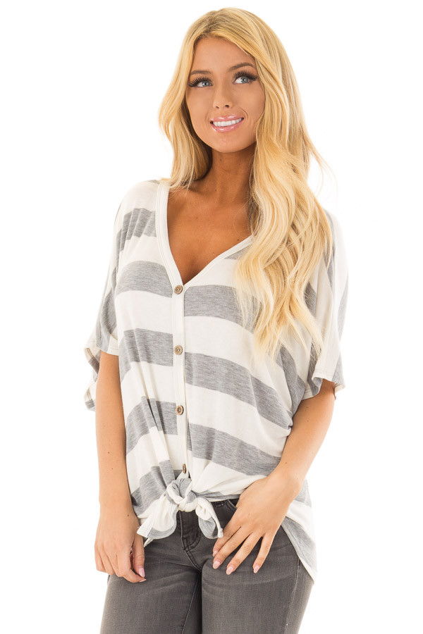 Ivory and Grey Striped Top with Front Tie front close up