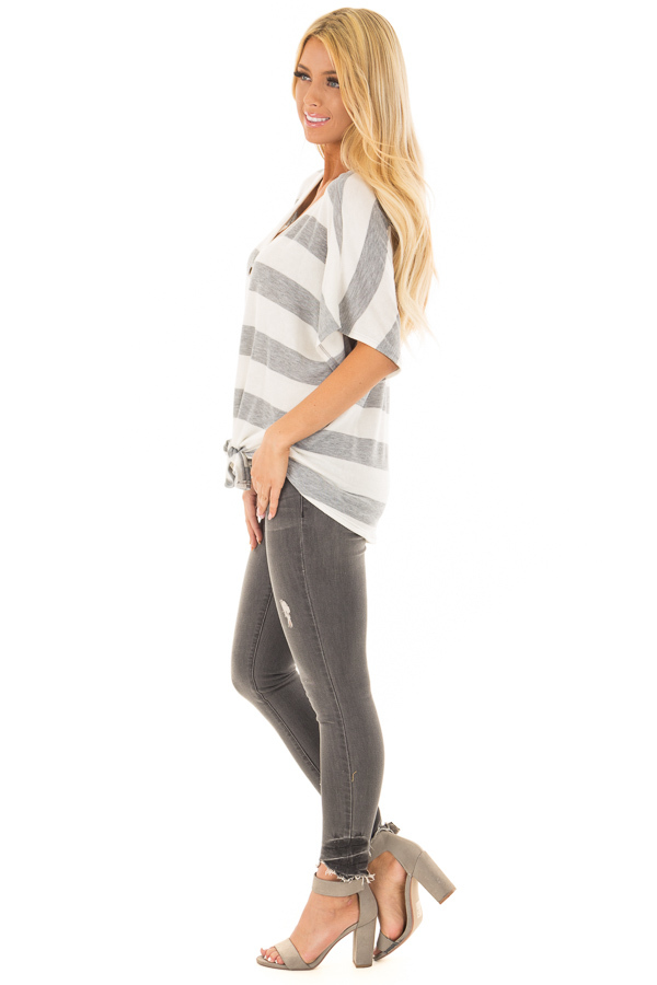 Ivory and Grey Striped Top with Front Tie side full body