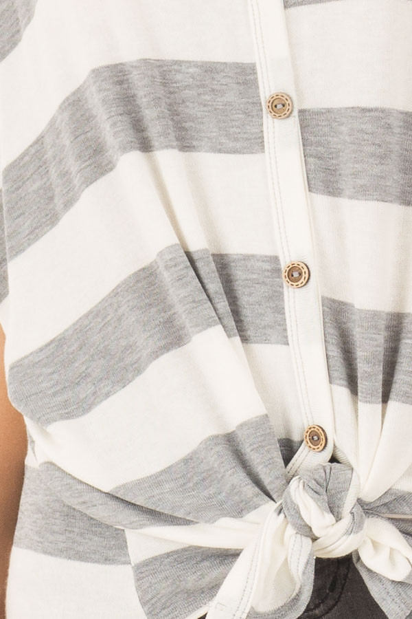 Ivory and Grey Striped Top with Front Tie detail
