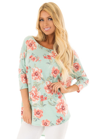 Dusty Mint Floral Print Oversized Top with Rounded Hemline front close up