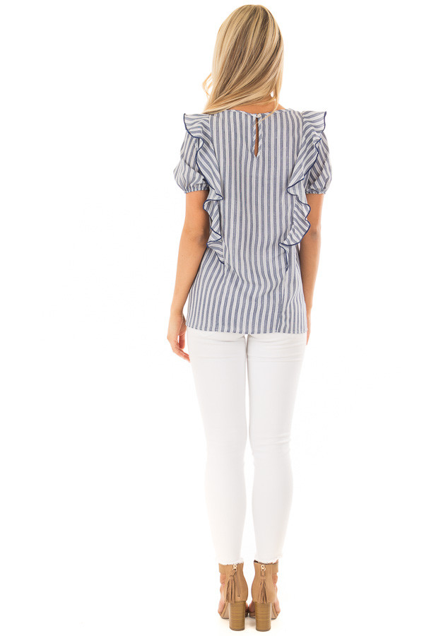 Navy and White Striped Blouse with Ruffle Detail back full body