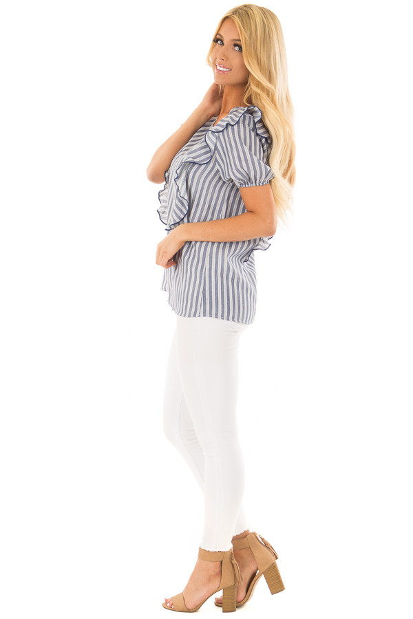 Navy and White Striped Blouse with Ruffle Detail side full body