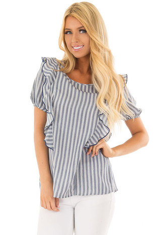 Navy and White Striped Blouse with Ruffle Detail front close up