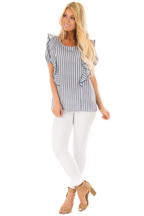 Navy and White Striped Blouse with Ruffle Detail front full body
