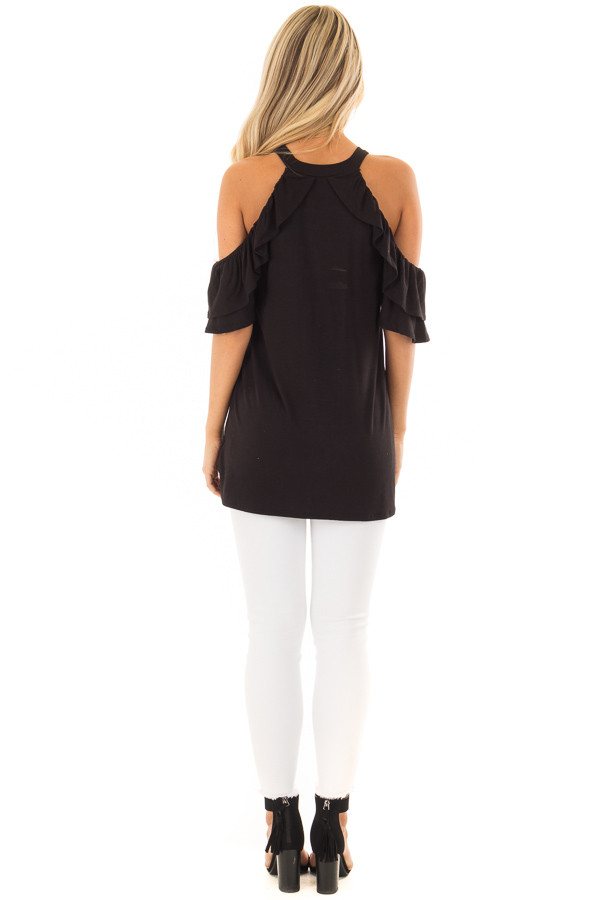 Black Cold Shoulder Top with Ruffle Sleeves back full body