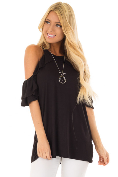 Black Cold Shoulder Top with Ruffle Sleeves front close up