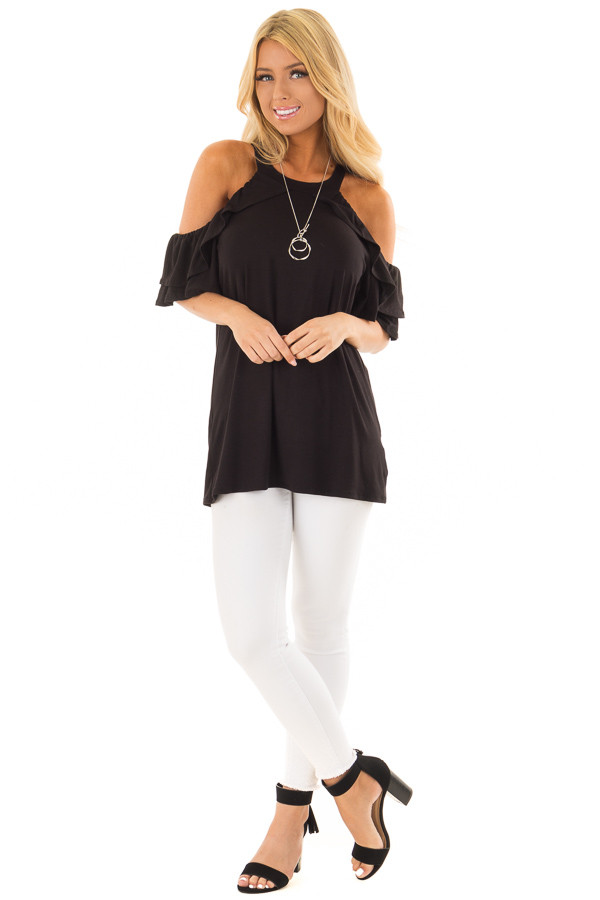 Black Cold Shoulder Top with Ruffle Sleeves front full body
