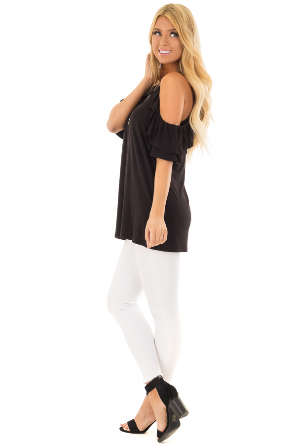Black Cold Shoulder Top with Ruffle Sleeves side full body