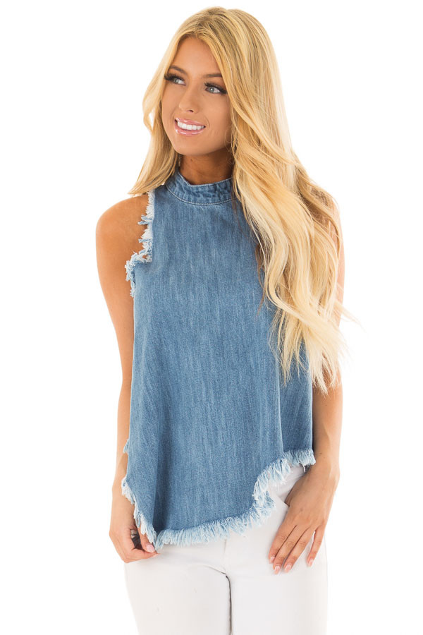 Denim Tank Top with Asymmetric Hemline and Fringe front close up