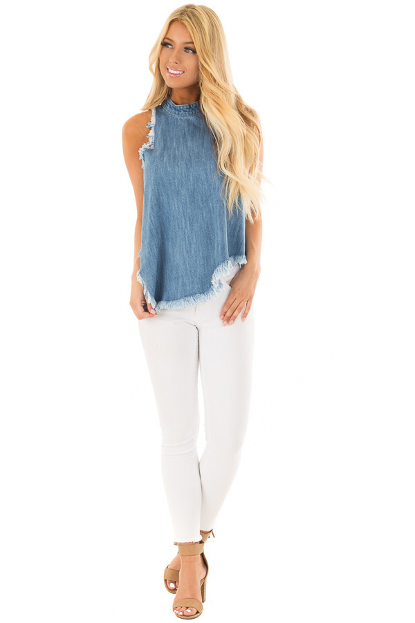 Denim Tank Top with Asymmetric Hemline and Fringe front full body