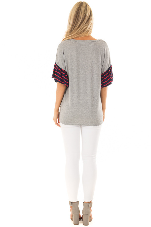 Heather Grey Soft Top with Striped Ruffle Sleeves back full body