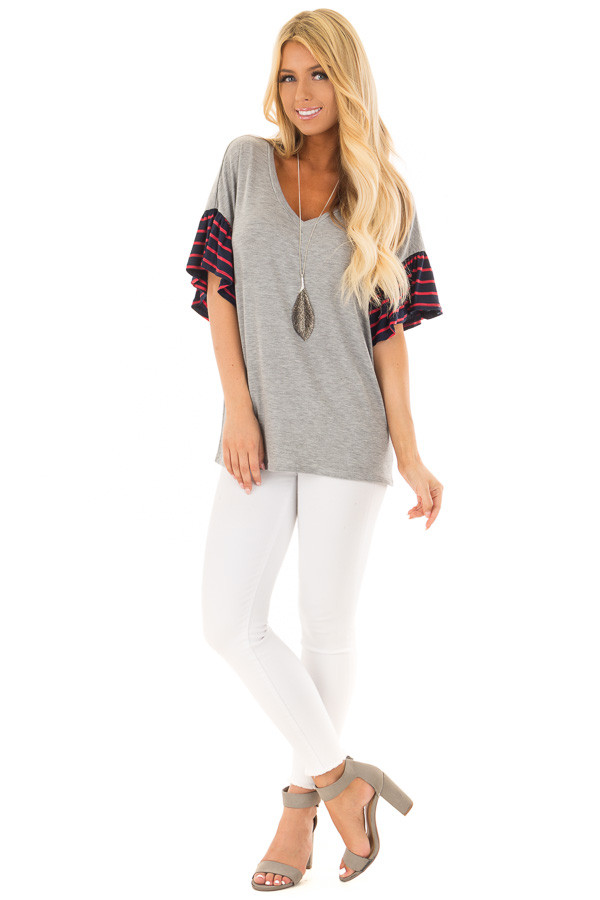 Heather Grey Soft Top with Striped Ruffle Sleeves front full body