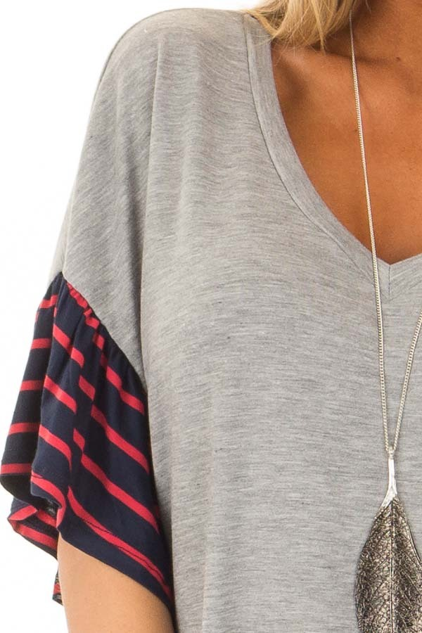 Heather Grey Soft Top with Striped Ruffle Sleeves detail