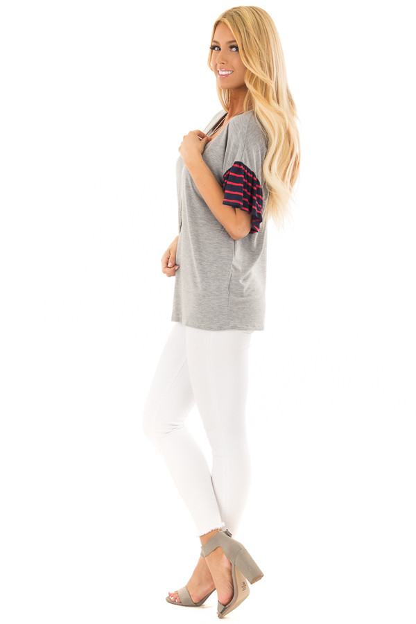 Heather Grey Soft Top with Striped Ruffle Sleeves side full body