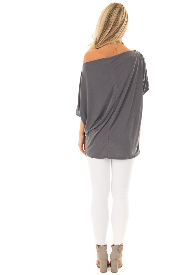 Charcoal Off the Shoulder Top with Front Twist back full body