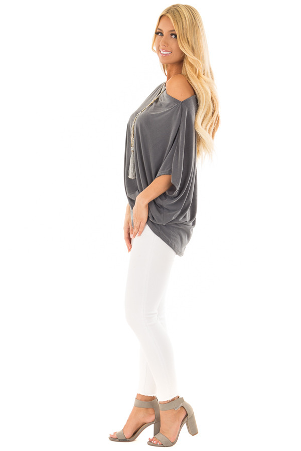 Charcoal Off the Shoulder Top with Front Twist side full body