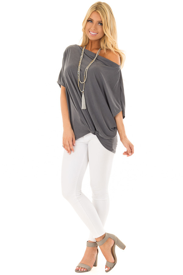 Charcoal Off the Shoulder Top with Front Twist front full body