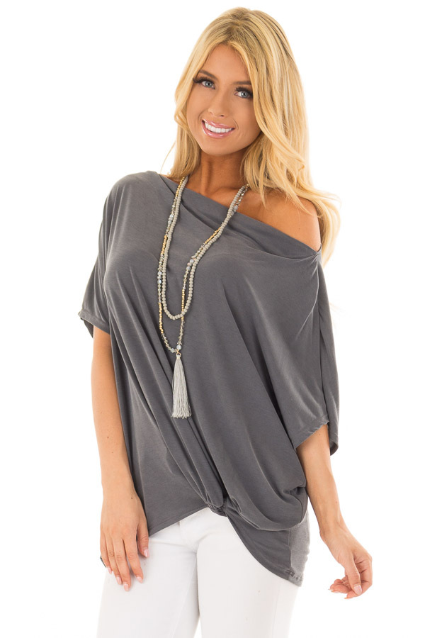 Charcoal Off the Shoulder Top with Front Twist front close up