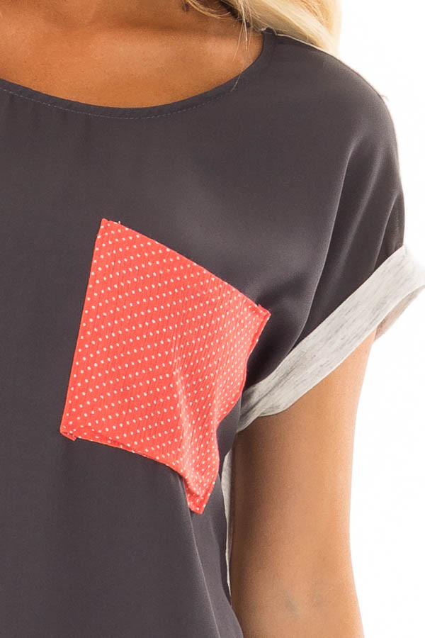Charcoal Top with Oatmeal Back and Coral Contrast detail