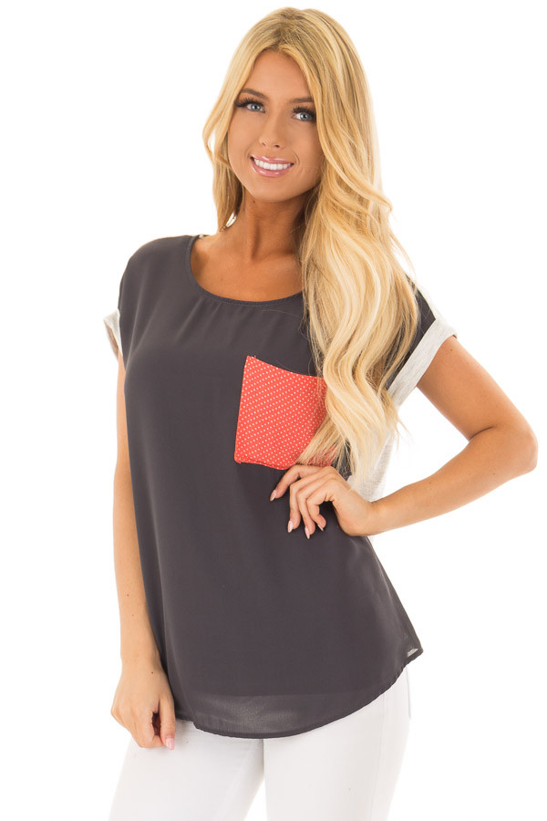 Charcoal Top with Oatmeal Back and Coral Contrast front close up