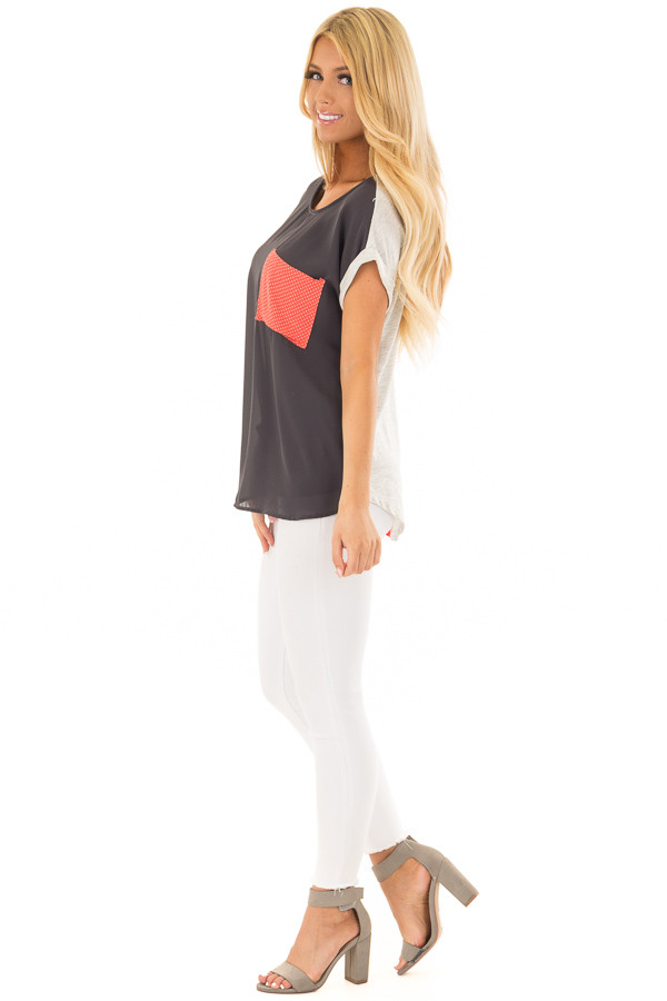 Charcoal Top with Oatmeal Back and Coral Contrast side full body