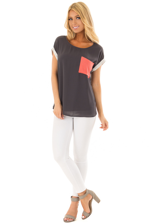 Charcoal Top with Oatmeal Back and Coral Contrast front full body