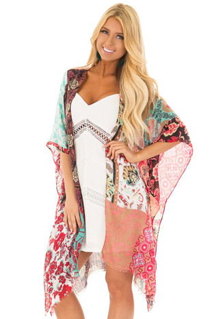 Multicolor Patchwork Print Kimono with Fringe Hemline front close up