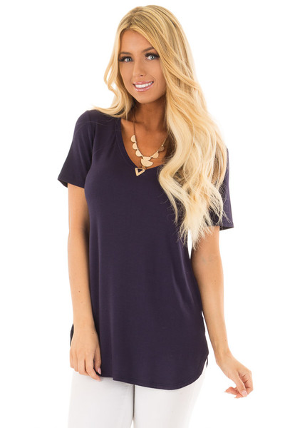 Navy V Neck Top with Side Slits front close up