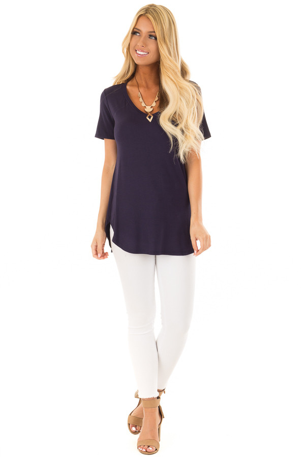 Navy V Neck Top with Side Slits front full body