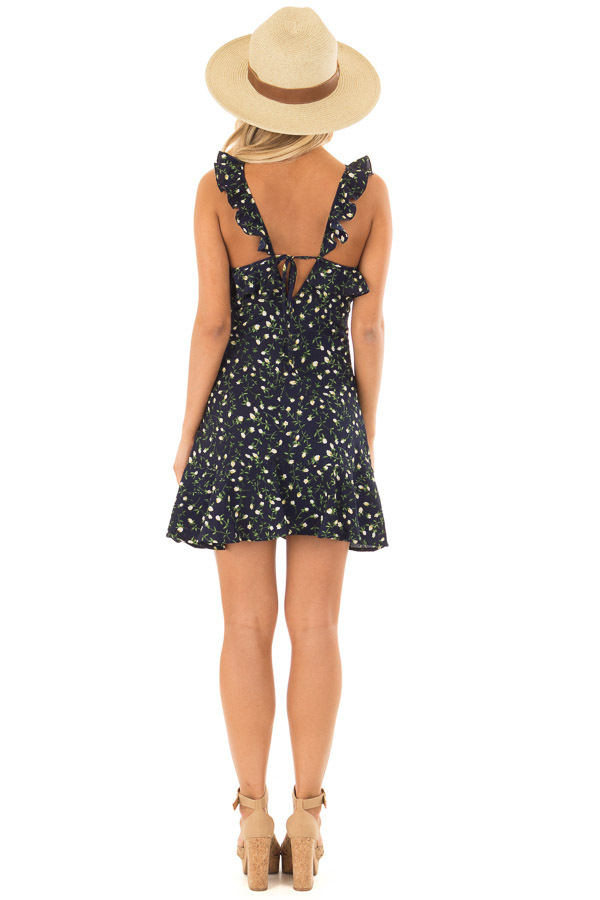 Navy Floral Dress with Ruffle Detail and Open Back back full body