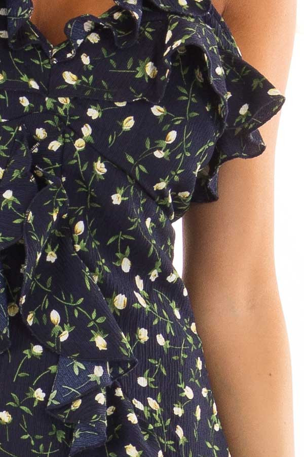 Navy Floral Dress with Ruffle Detail and Open Back detail