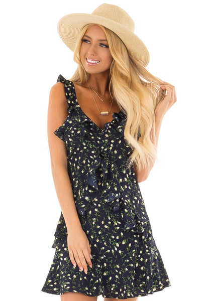 Navy Floral Dress with Ruffle Detail and Open Back front close up
