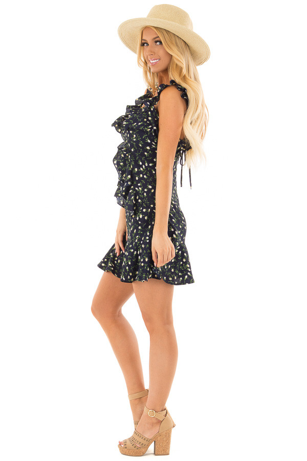 Navy Floral Dress with Ruffle Detail and Open Back side full body
