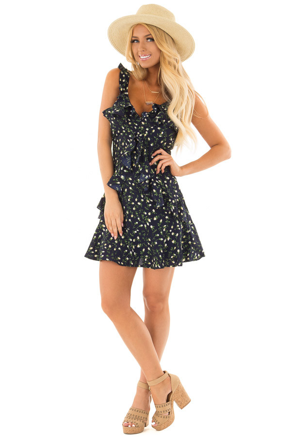 Navy Floral Dress with Ruffle Detail and Open Back front full body