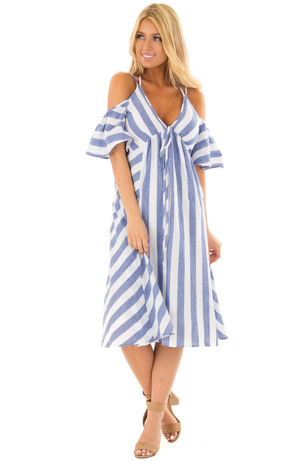 Denim Blue Striped Cold Shoulder Midi Dress with Halter Tie front full body