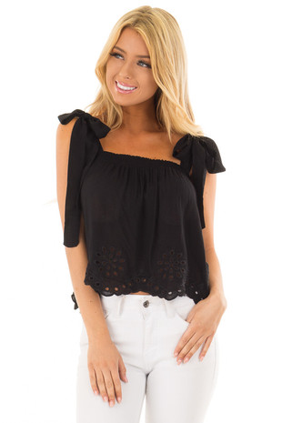 Black Crop Top with Eyelet Lace Trim Hem and Tie Straps front close up