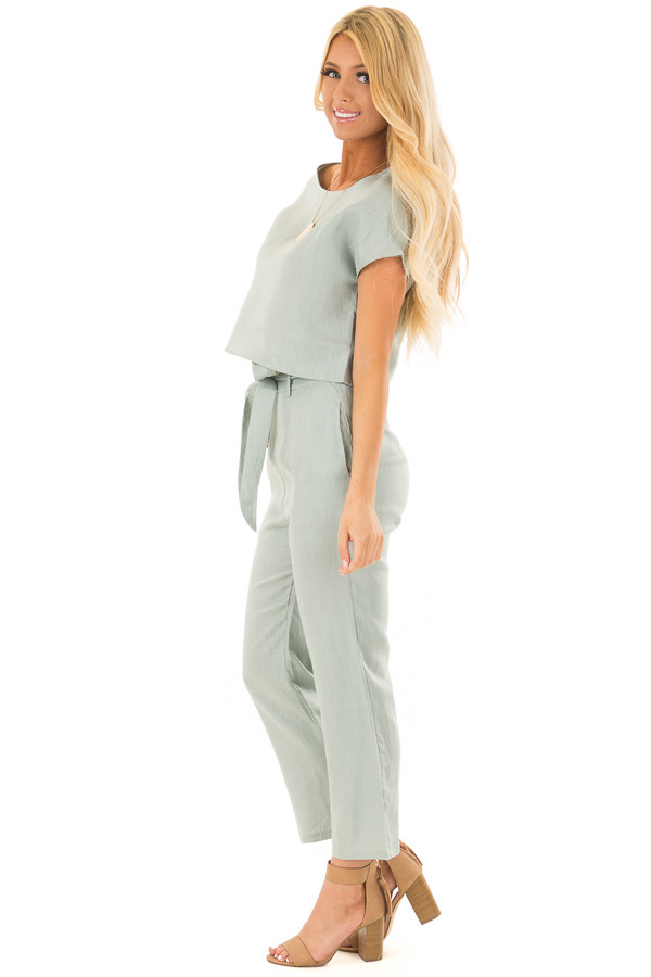 Sage Two Piece Set with Belt side full body