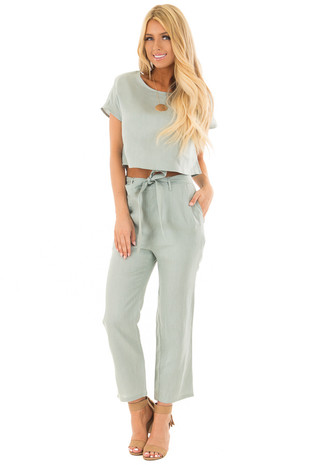 Sage Two Piece Set with Belt front full body
