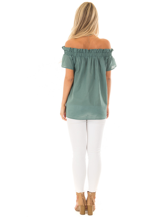 Deep Sage Off the Shoulder Top with Elastic Neckline back full body