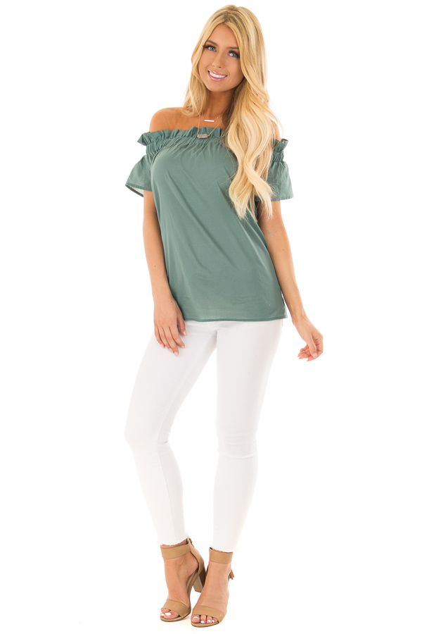Deep Sage Off the Shoulder Top with Elastic Neckline front full body