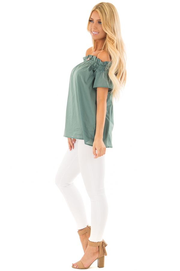 Deep Sage Off the Shoulder Top with Elastic Neckline side full body