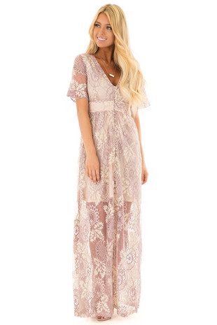 Light Lavender Lace Maxi Dress with Deep V Neckline front full body