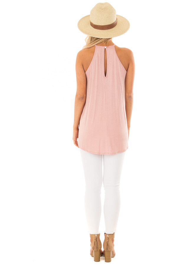 Dusty Mauve Tank Top with Sheer Lace Chest back full body