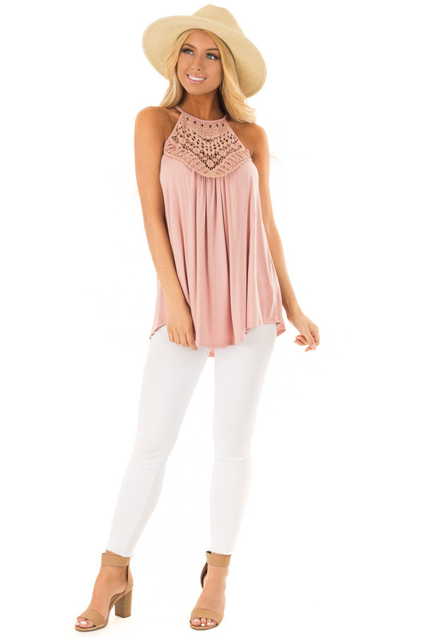 Dusty Mauve Tank Top with Sheer Lace Chest front full body