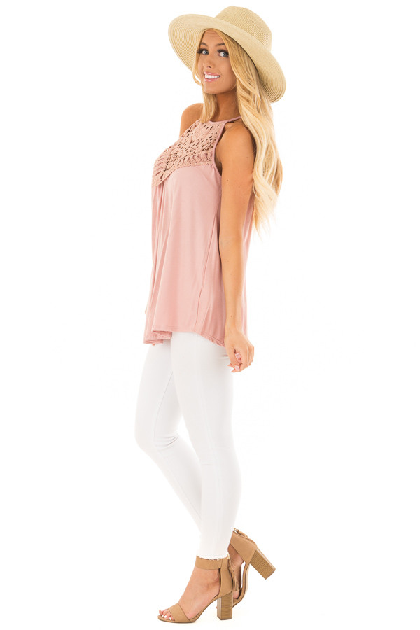 Dusty Mauve Tank Top with Sheer Lace Chest side full body