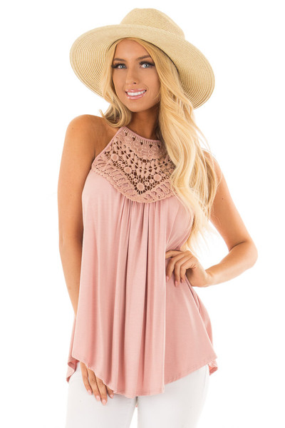 Dusty Mauve Tank Top with Sheer Lace Chest front close up