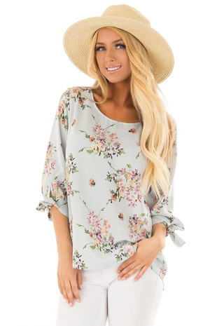 Sage Blue Striped Floral 3/4 Sleeve Top with Tie on Sleeves front close up