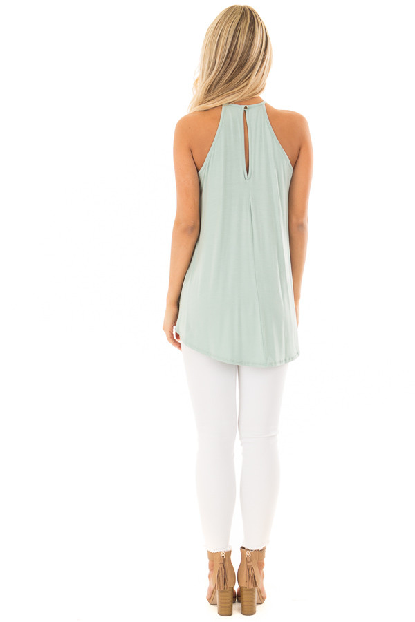 Dusty Sage Tank Top with Sheer Lace Chest back full body