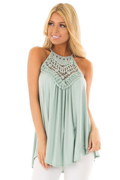 Dusty Sage Tank Top with Sheer Lace Chest front close up