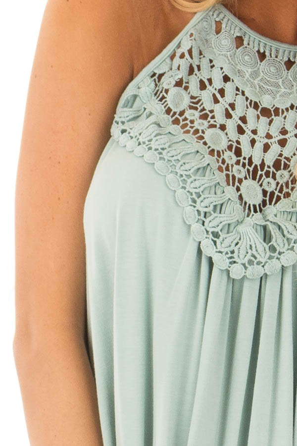 Dusty Sage Tank Top with Sheer Lace Chest detail